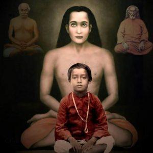 Baby Yogananda with Mahavatar Babaji